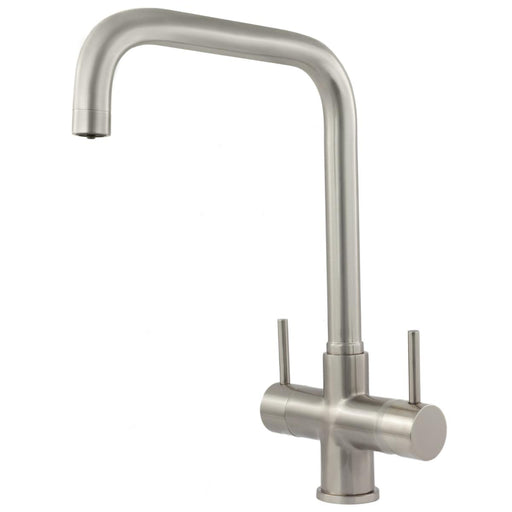 Acquapuro Monza 2 Lever, 3 Way Kitchen Tap - Brushed Steel