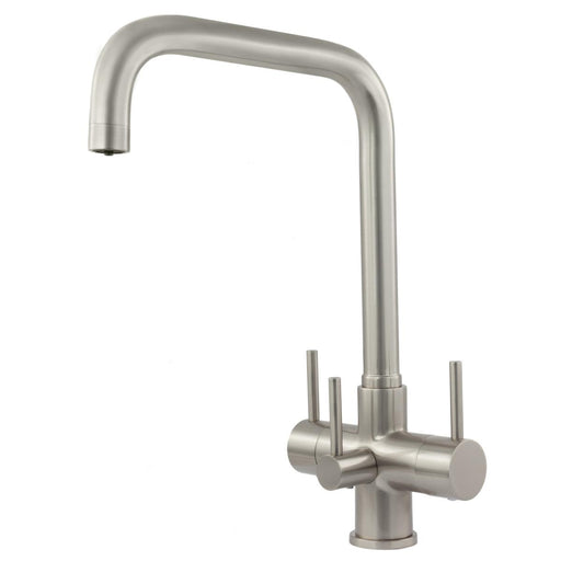 Acquapuro Monza 3 Lever, 3 Way Kitchen Tap - Brushed Steel (MON33B)