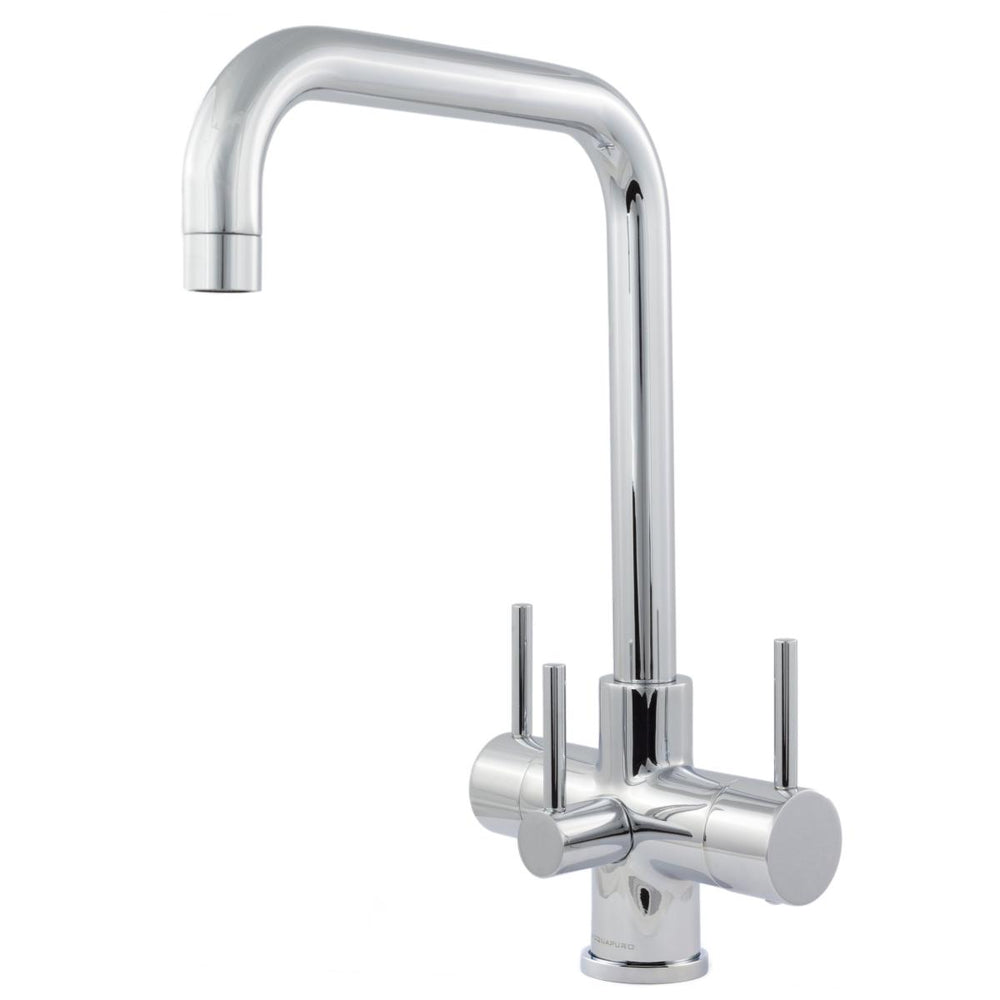 Acquapuro Monza 3 Lever, 3 Way Kitchen Tap - Chrome