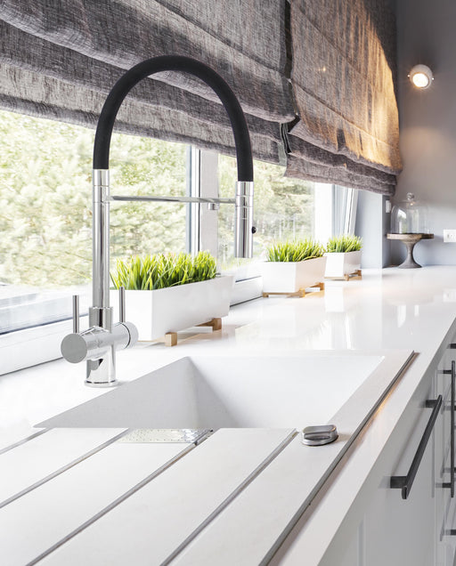 Acquapuro Aquila 3-Way 2 Lever Chrome & Black Kitchen Mixer Tap