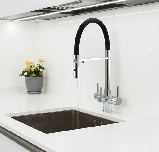 Acquapuro Aquila 3 Way 3 Lever Spray Filter Kitchen Tap Black & Chrome