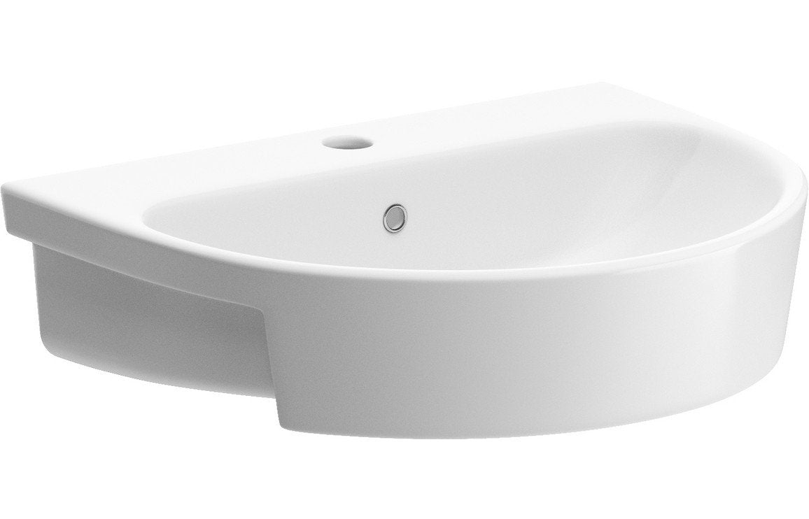 Cilantro 555x435mm 1TH Semi Recessed Basin