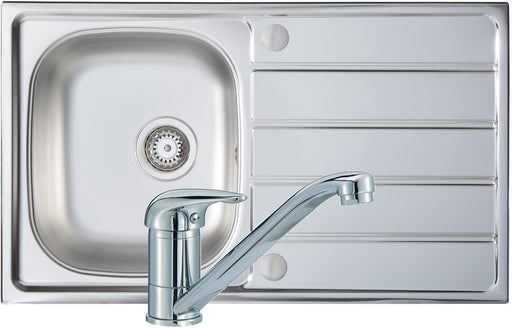 Prima 1B 800x500mm St/Steel Sink & Single Lever Tap Pack