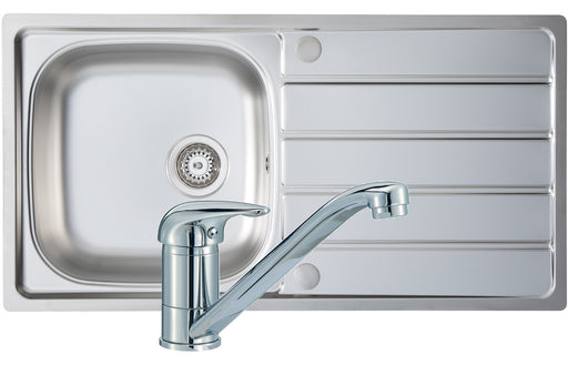 Prima 1B 965x500mm St/Steel Sink & Single Lever Tap Pack