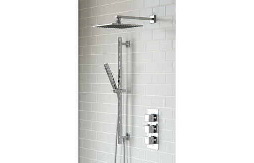 Square Shower Pack 7 - Kuba Triple Two Outlet & Riser/Overhead Kit
