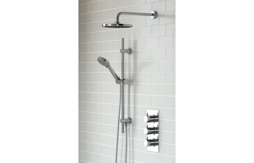 Round Shower Pack 11 - Circa Triple Three Outlet & Riser/Overhead Kit