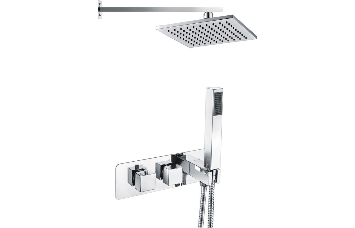 Square Shower Pack 5 - Targa Twin Two Outlet with Handset & Brass Overhead Shower