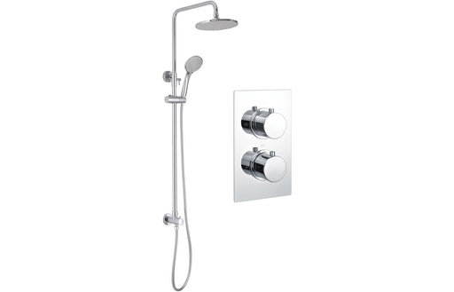 Round Shower Pack 2 - Circa Twin Two Outlet & Riser/Overhead Kit