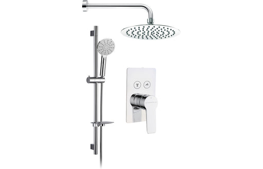 Round Shower Pack 6 - Aura Twin Push Button Two Outlet & Riser/Overhead Kit
