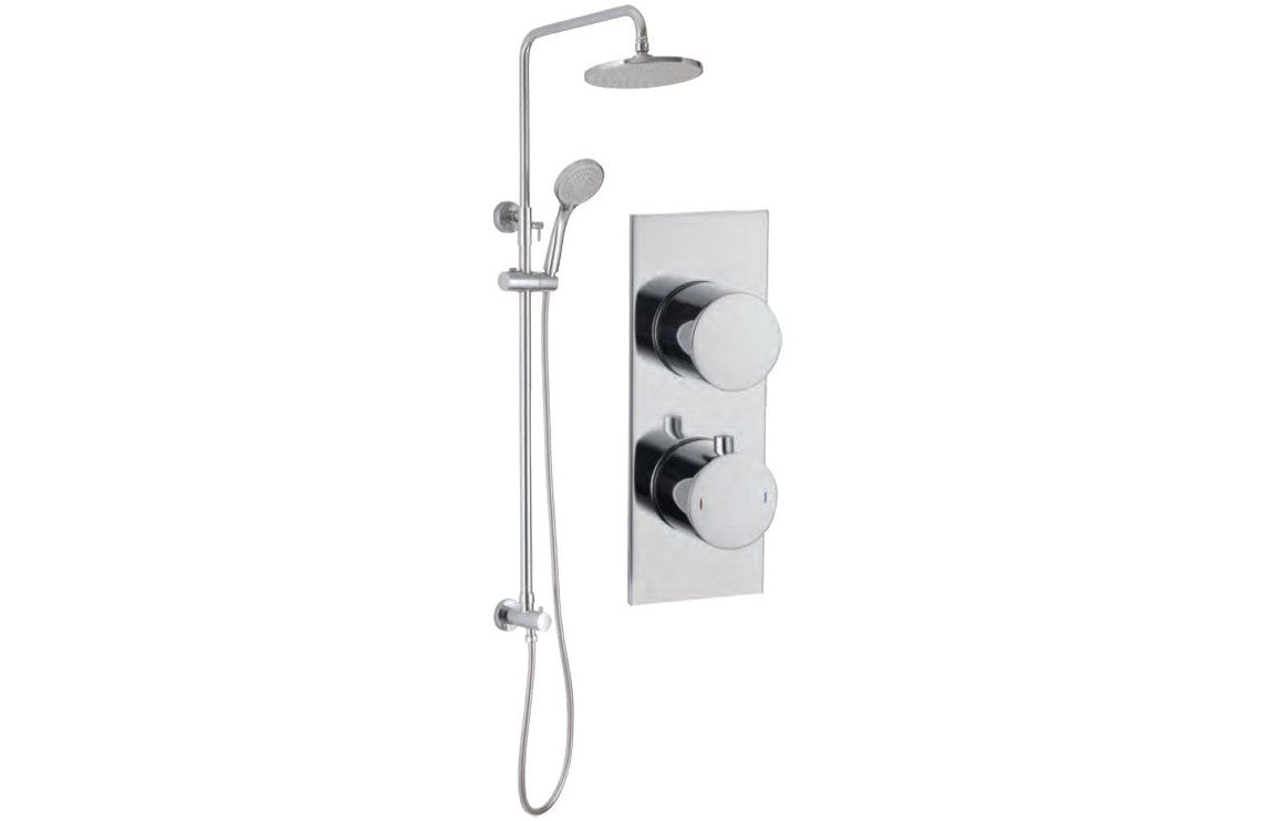 Round Shower Pack 9 - Sphere Slim Plate Two Outlet & Riser/ Overhead Kit
