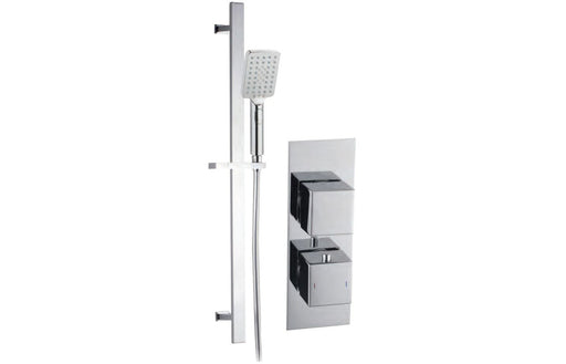 Square Shower Pack 8 - Rhomba Slim Plate Single Outlet & Riser Kit