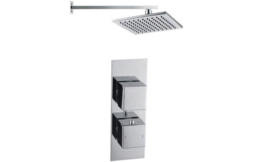 Square Shower Pack 9 - Rhomba Slim Plate Single Outlet & Overhead Shower