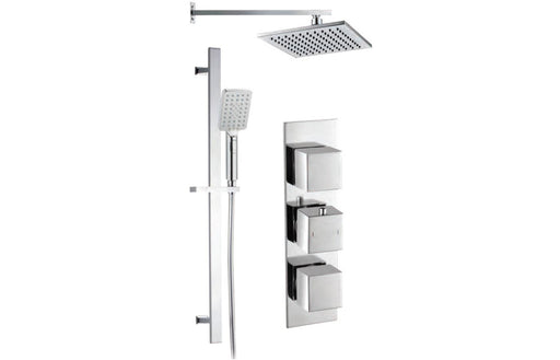 Square Shower Pack 10 - Rhomba Slim Plate Two Outler & Riser/ Overhead Kit