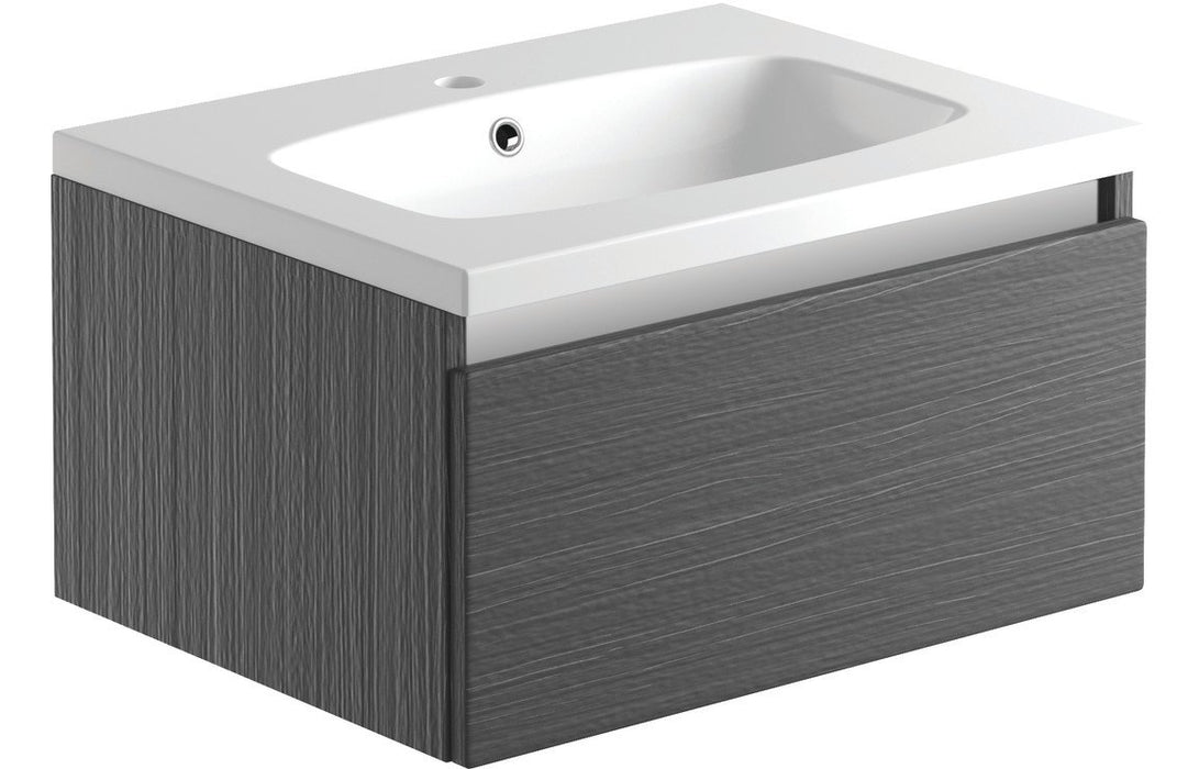 Carino 600mm 1 Drawer Wall Hung Unit & Basin - Graphitewood