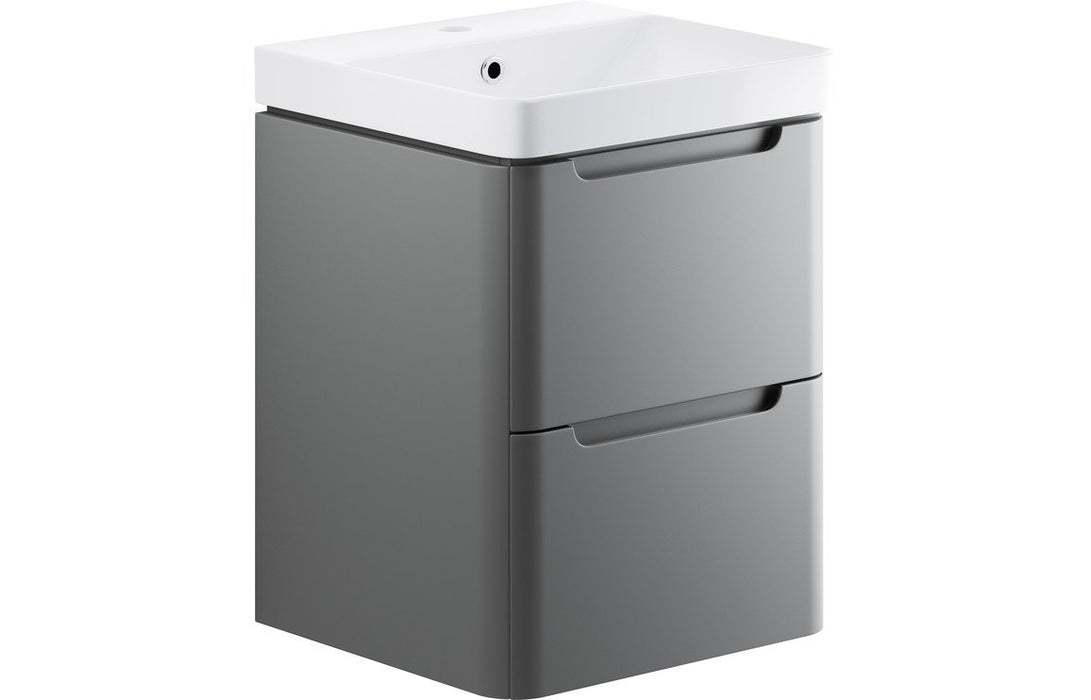 Lambra 500mm 2 Drawer Wall Hung Cloakroom Vanity Unit - Matt Grey