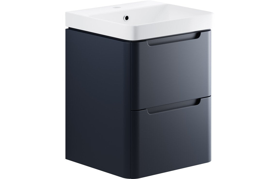 Lambra 500mm 2 Drawer Wall Hung Cloakroom Vanity Unit - Matt Indigo