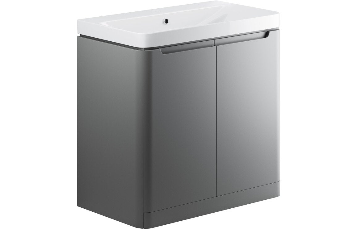 Lambra 800mm 2 Door Floor Standing Vanity Unit - Matt Grey
