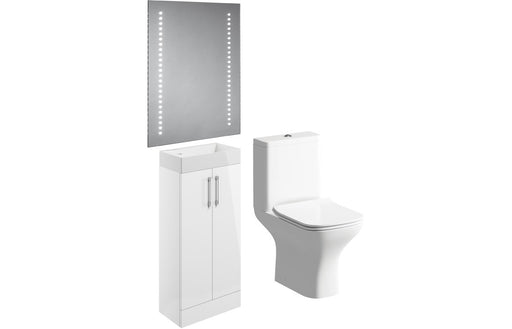 Volta 400mm Floor Standing Cloakroom Pack - White Gloss