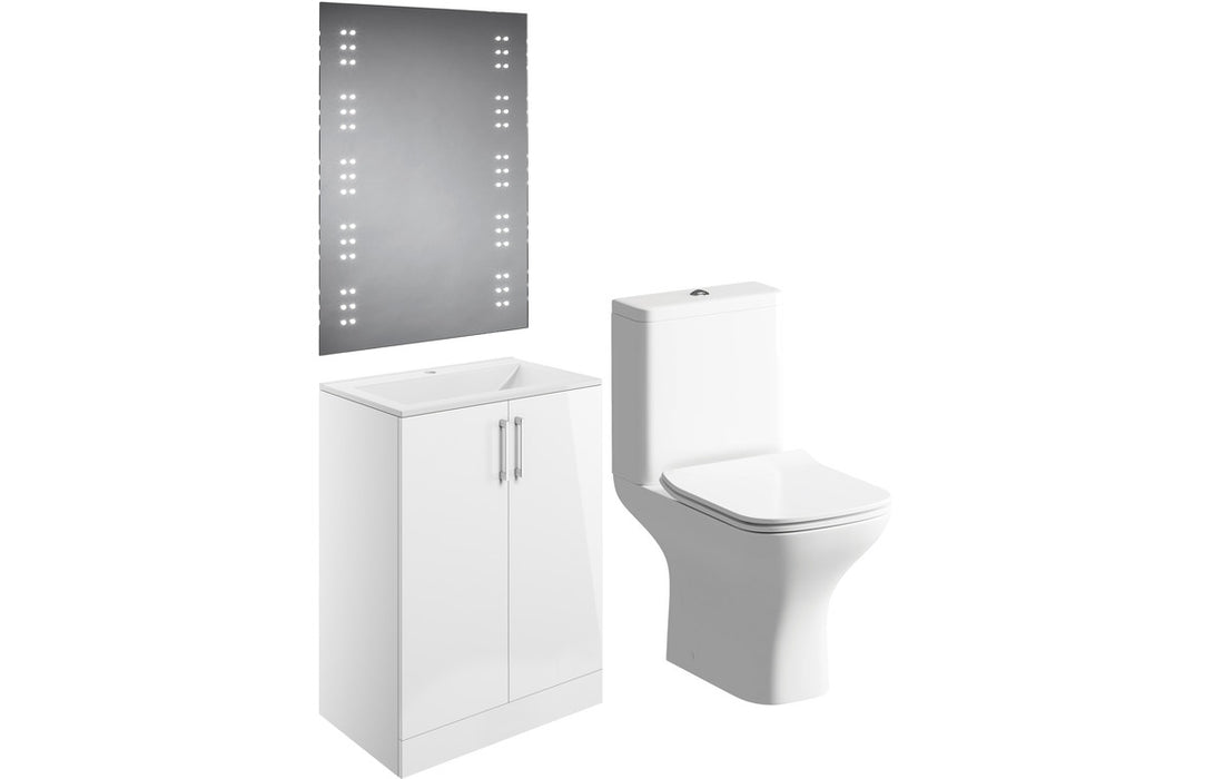 Volta 600mm Floor Standing Pack - White Gloss
