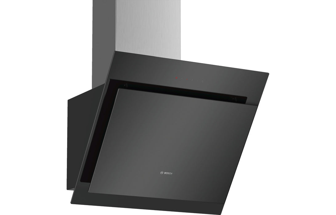 Bosch Serie 4 DWK67CM60B 60cm Angled Chimney Hood - Black Glass