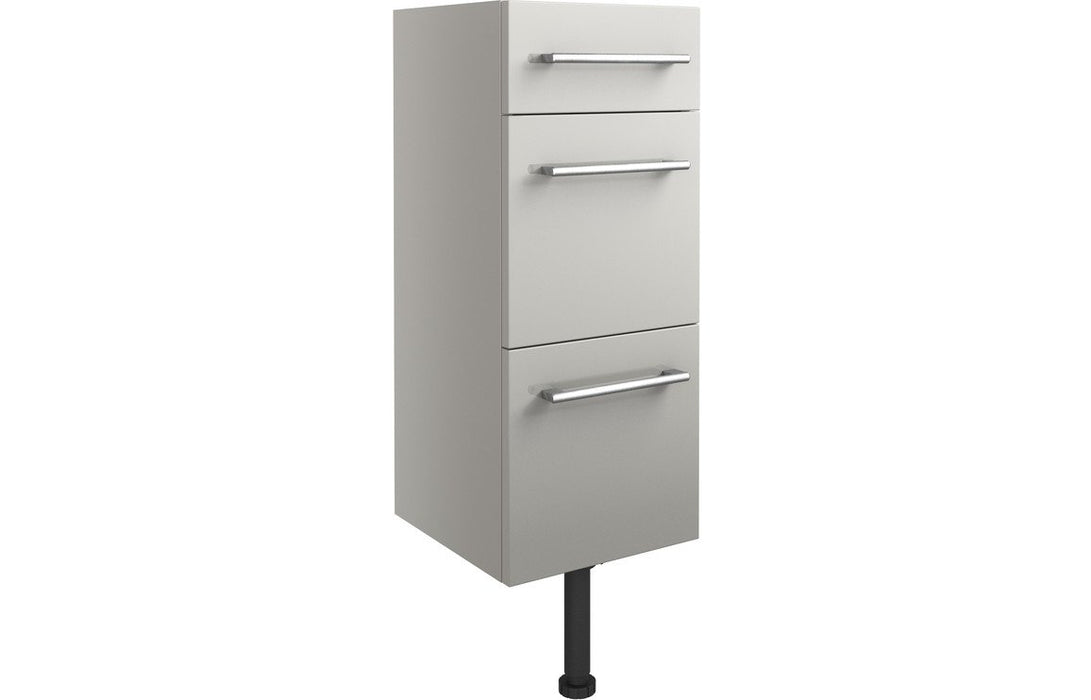 Alba 300mm 3 Drawer Unit - Light Grey Gloss