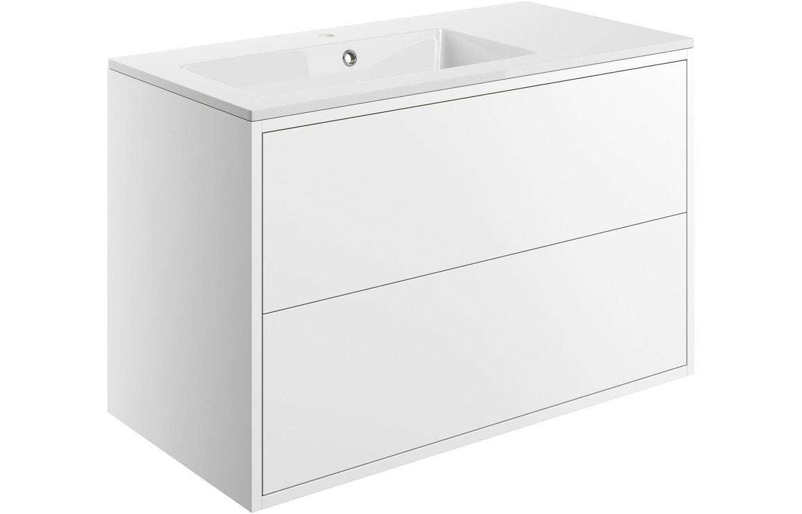 Perla 900mm 2 Drawer Wall Hung Vanity Unit Inc. Basin - Matt White