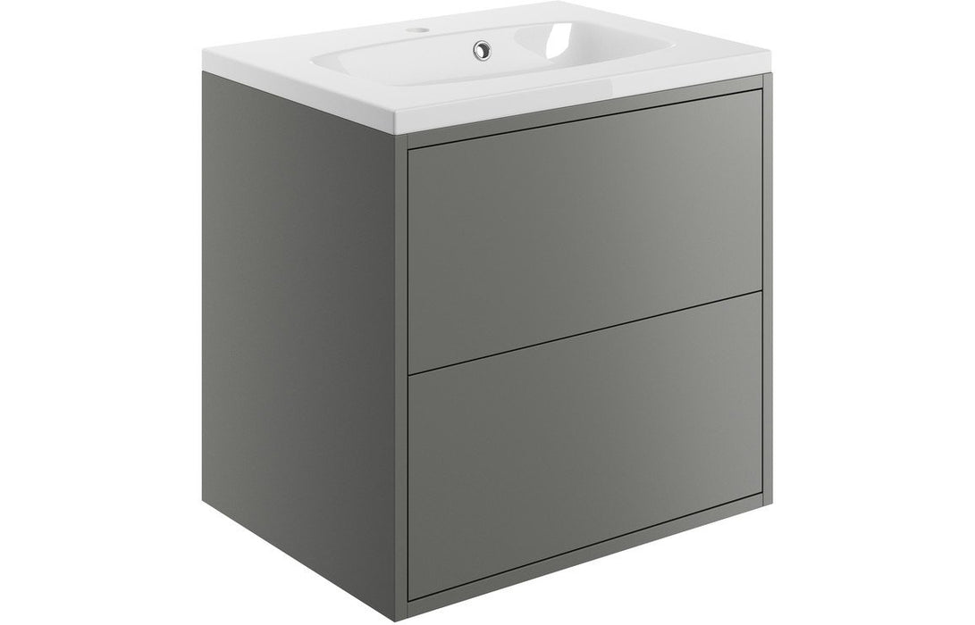 Perla 600mm 2 Drawer Wall Hung Vanity Unit Inc. Basin - Matt Grey