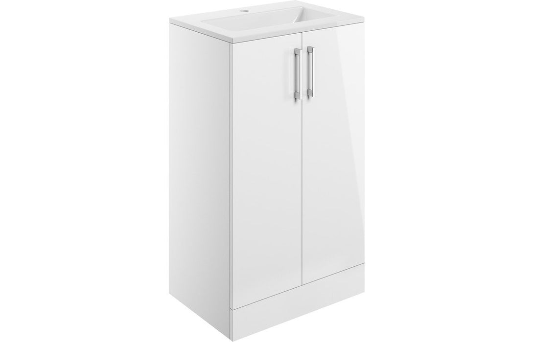 Volta 510mm 2 Door Vanity Unit Inc. Basin - White Gloss