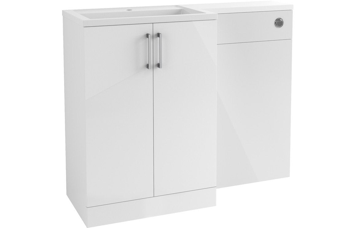 Volta 1100mm Vanity, Basin & WC Pack (LH) - White Gloss