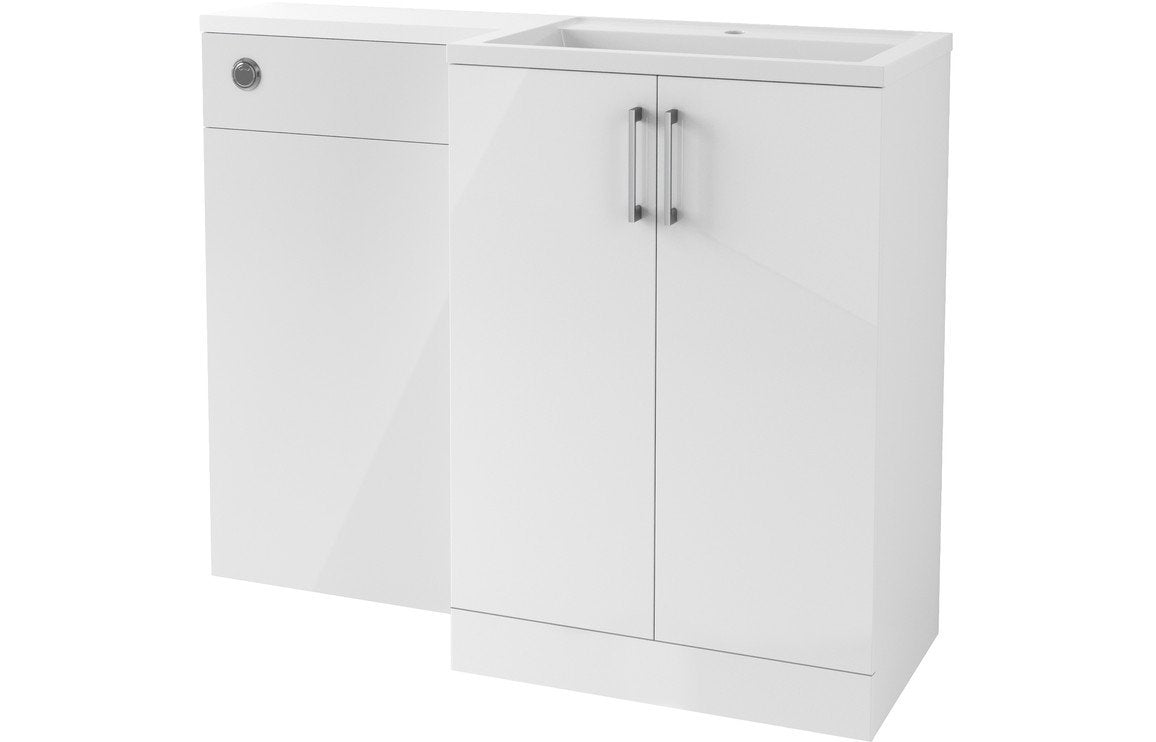 Volta 1100mm Vanity, Basin & WC Pack (RH) - White Gloss