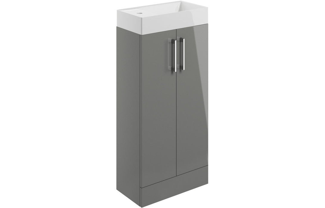 Volta 400mm 2 Door Vanity Unit Inc. Basin - Grey Gloss