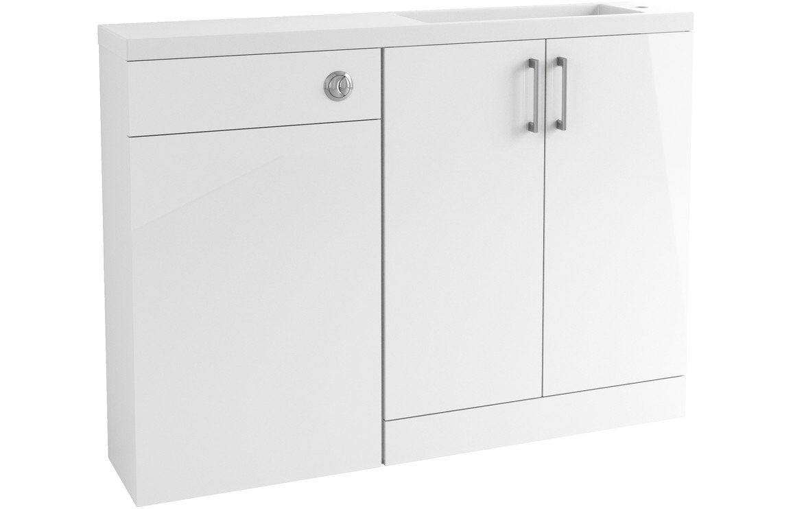 Volta 1207mm Space Saving Vanity, Basin & WC Pack - White Gloss