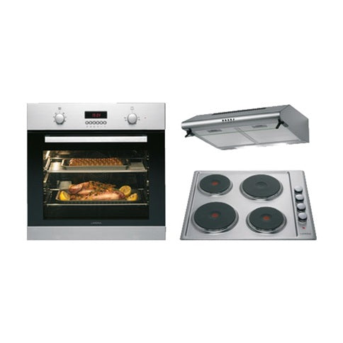 HAP1220 Lamona Stainless Steel Single Multi-function Oven, Electric Hob and Deluxe Conventional Extractor Cooking Package