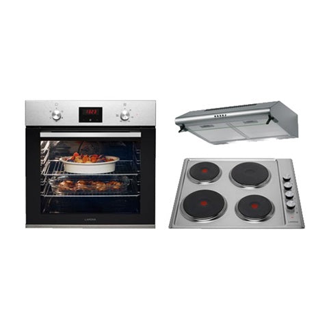 Lamona Stainless Steel Single Fan Oven, Electric Hob and Deluxe Conventional Extractor Cooking Package