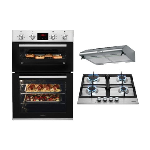 HAP2301 Lamona Stainless Steel Built-In Double Fan Oven, 4 Burner Professional Gas Hob and Deluxe Conventional Extractor Cooking Package