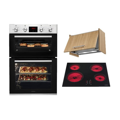 Lamona Stainless Steel Double Fan Oven, Touch Control Ceramic Hob and Turbo Integrated Extractor Cooking Package