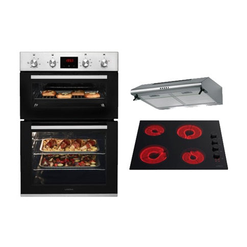Lamona Stainless Steel Built-In Double Fan Oven, Black Side Control Ceramic Hob and Deluxe Conventional Extractor Cooking Package