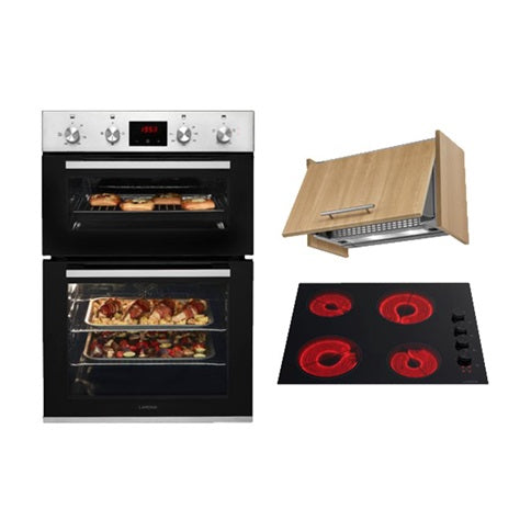 Lamona Stainless Steel Built-In Double Fan Oven, Black Side Control Ceramic Hob and Integrated Extractor Cooking Package