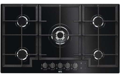 AEG HKB95540NB 90cm Gas on Glass Hob - Black