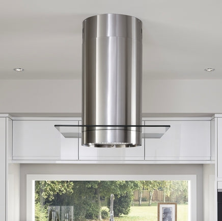 Lamona Stainless Steel cylinder island extractor with glass 90cm