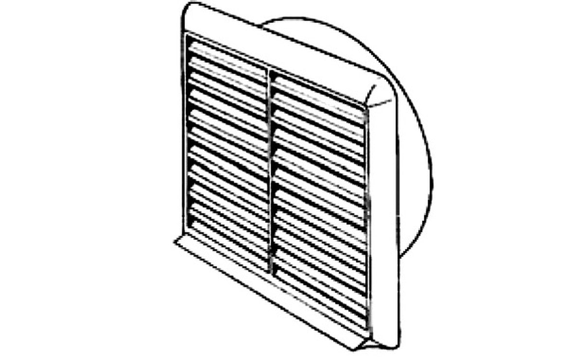 Verplas VKC244 100mm Louvered Grill Round Spigot in White