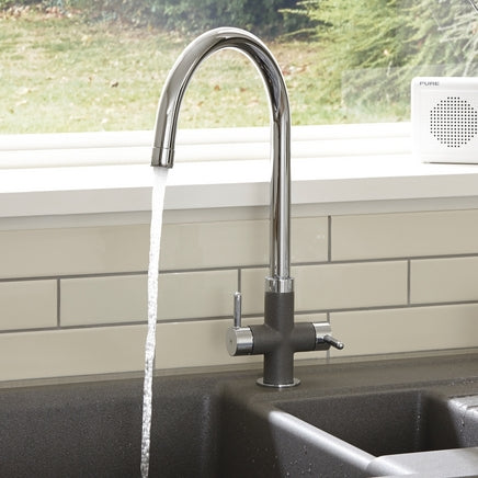 Lamona Chrome and Grey Calaggio Swan Neck Monobloc Tap