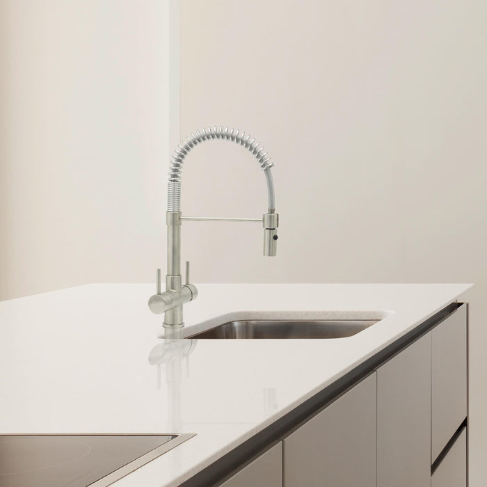 Acquapuro Milano Compact Pull Down Spray 2 Lever Tap Brushed Steel  (MIL32B)