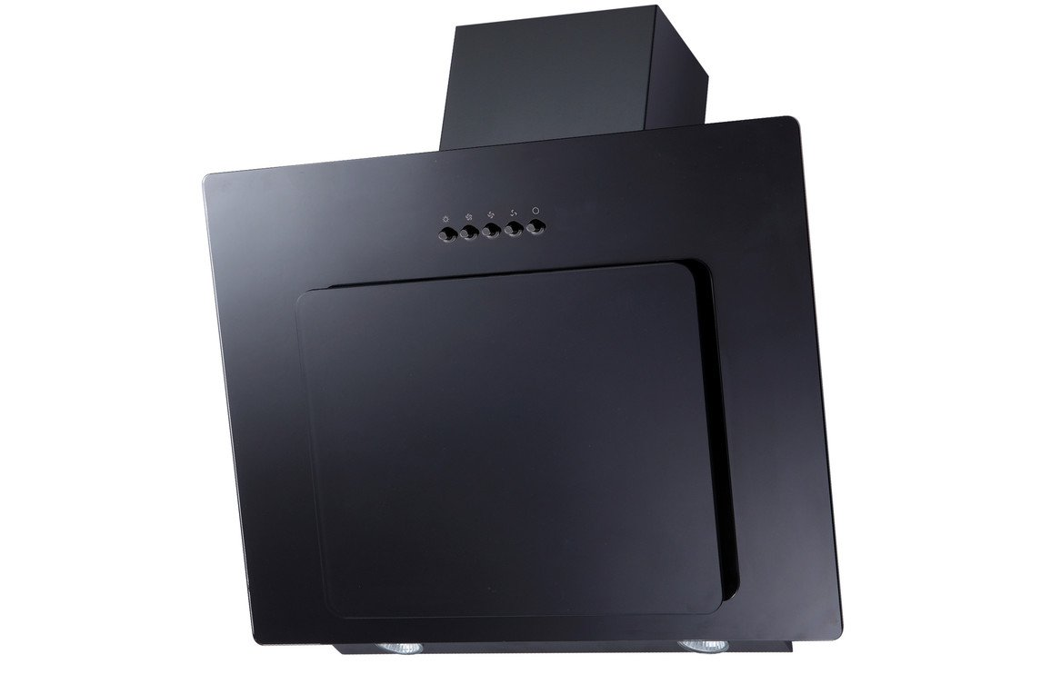 Prima+ PRAE0018 60cm Angled Chimney Hood - Black Glass