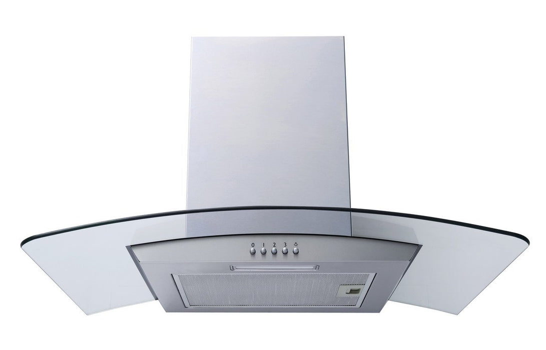 Prima PRCGH010 70cm Curved Glass Chimney Hood - St/Steel