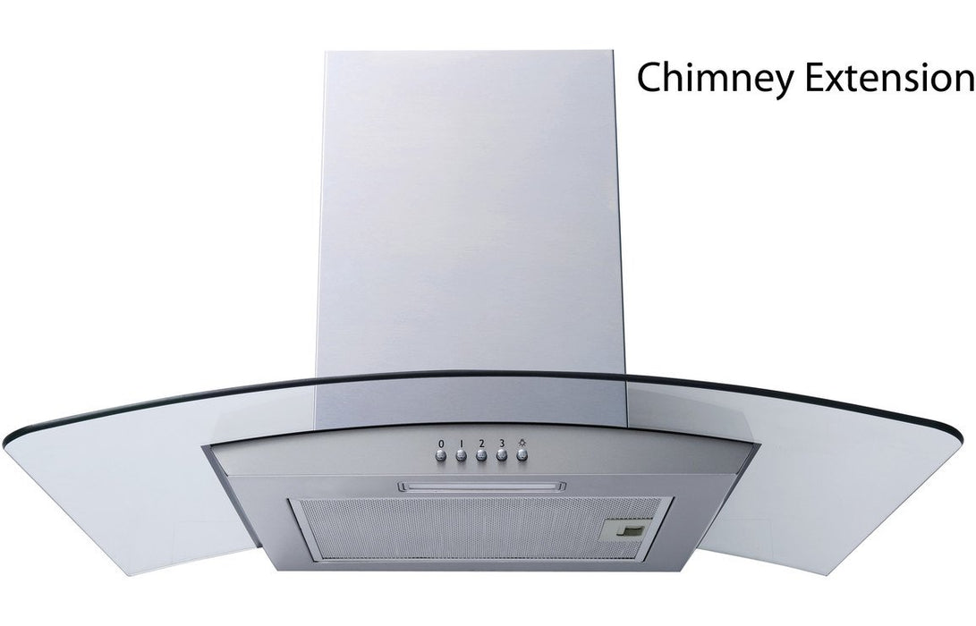 Prima Curved Chimney Hood Extension - St/Steel