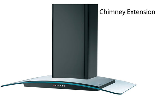 Prima Curved Chimney Hood Extension - Black