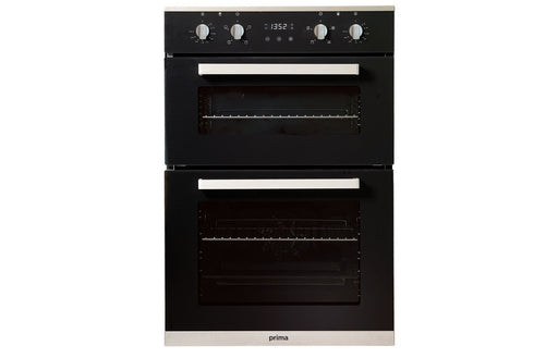 Prima+ PRDO302 B/I Double Electric Oven - Black & St/Steel  | Prima Double Oven