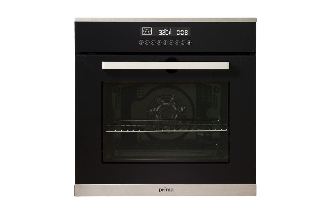 Prima+ PRSO108 B/I Single Electric Fan Oven - Black & St/Steel