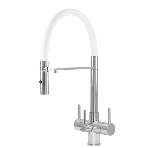 Acquapuro Aquila 3 Lever Chrome and White Triflow Tap (AQU33CW)